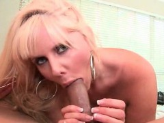 Blonde mom eats cock and...