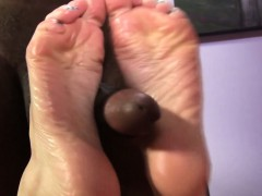 Lubed feet cum covered