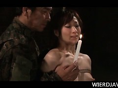 Naked Asian army girl gets...