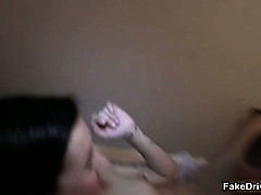 Nasty brunette slut gets...