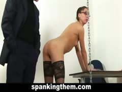 Young teacher spanked by...