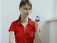 Teen motel alone toying her...