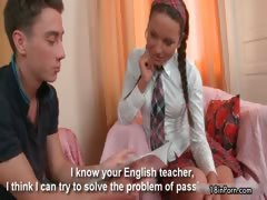 Teen schoolgirl gets her...