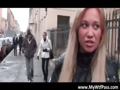 Gorgeous blonde girl gets...